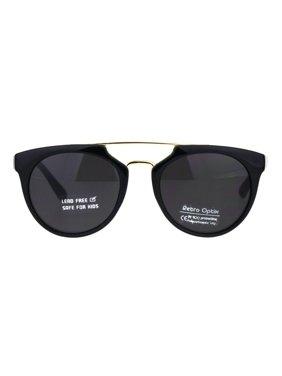 2e7948e21df Product Image Kids Size Girls Flat Top Mod Retro Designer Fashion Plastic  Sunglasses All Black