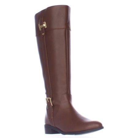 Womens KS35 Deliee Wide-Calf Riding Boots, Cognac