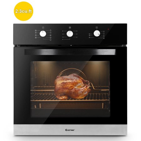 Costway 24'' Electric Built-In Single Wall Oven 220V Tempered Glass Push Buttons (Best 24 Wall Oven)