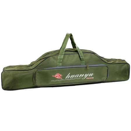 Army green fishing rod pole storage bag holder 90cm long for Fishing rod case carrier storage bag