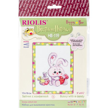 (Bunny With A Candy Counted Cross Stitch Kit-5