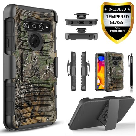 LG V40 ThinQ Case, LG V40 Case, Dual Layers [Combo Holster] And Built-In Kickstand Bundled with [Temerped Glass Screen Protector] Hybird Shockproof And Circlemalls Stylus Pen (Camo) Case Green Circle
