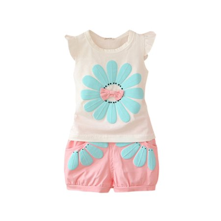 Toddler Baby Girl Summer Clothes Set Flower T-Shirt Tops+Shorts Beach - Girls Clothes Clearance