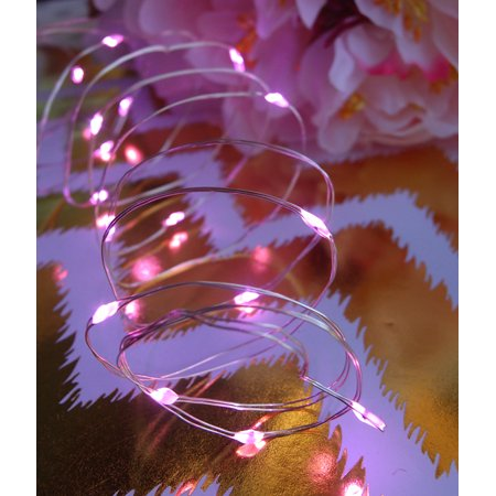 Fantado 20 Pink LED Micro Fairy String Lights, Wire (6ft, Battery Operated) by PaperLanternStore - Pink String Lights