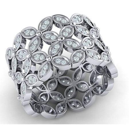Real 3carat Round Cut Diamond Prong Flower Full Eternity Wedding Band Ring Bridal Anniversary Solid 18K Gold H (Prong Set Full Cut)