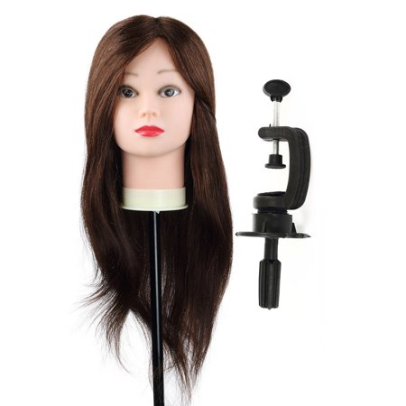 24inch 100 Human Hair Mannequin Doll Manikin Head Free Clamp Holder Salon Cosmetology Beauty