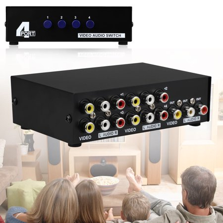 - AV Switch Box Switcher Selector (4 Input 1 Output) - 4 Way Port Stereo RCA Audio and Composite Video Selector Switch Box For Wii, XBOX, DVD, PS2, Cable Box, Security Monitors, Cameras