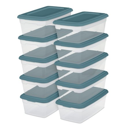 Sterilite, Set of (10) 6 Qt./5.7 L Storage Boxes, Cool Water, Set of 40 ()