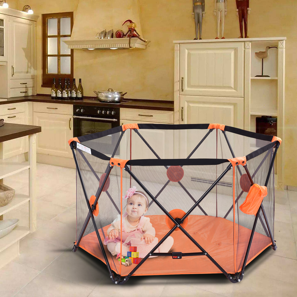 Costway Baby Play Pen Folding Infant Pop N' Play Portable Playard (orange)