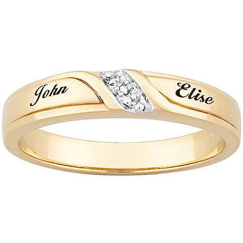 Personalized 18kt Gold over Sterling Silver Diamond Engraved Name Slim Wedding Band