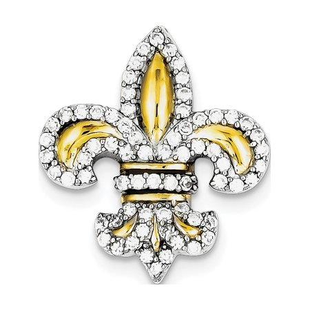 Leslies Fine Jewelry Designer 925 Sterling Silver CZ Fleur de Lis w/ Flash -Plated Slide (25x28mm) Pendant Gift (Fleur De Lis Designer Jewelry Set)