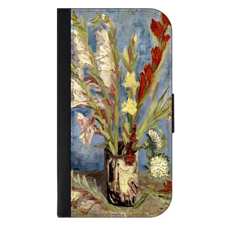 Artist Vincent Van Gogh's Vase of Gladioli and Chinese Asters - Wallet Style Phone Case with 2 Card Slots Compatible with the Standard Samsung Galaxy s7