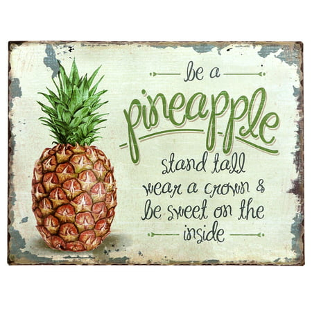 Barnyard Designs Be A Pineapple Retro Vintage Tin Bar Sign Country Home Decor 10