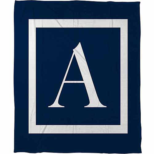 Thumbprintz Classic Block Monogram Fleece Throw, Blue