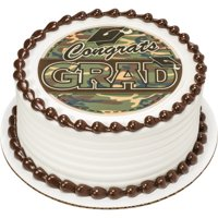 Edible Frosting Photo Graduation Cake Topper - Camo