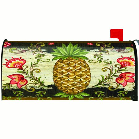 Toland Pineapple & Scrolls Mailbox Cover #310037 White Scroll Boxes