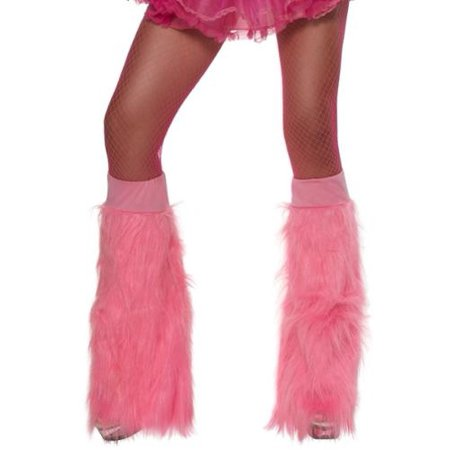 Smiffys Neon Pink Monster Fur Furry Flare Leg Warmers Boot Top Covers (Cheap Furry Leg Warmers Boot Covers)