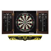 Viper Stadium Dartboard Cabinet with Shot King Sisal Dartboard Viper Edge Throw/Toe Line Marker (Steel and Soft Tip Darts)