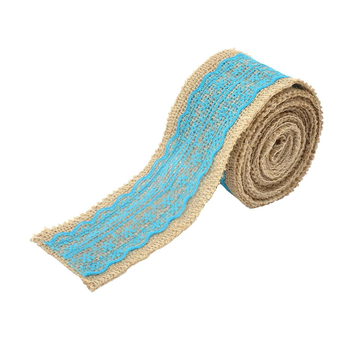 Wedding Party Lace Edge Ornament Craft Burlap Ribbon Strap Roll Blue 3.3 Yards