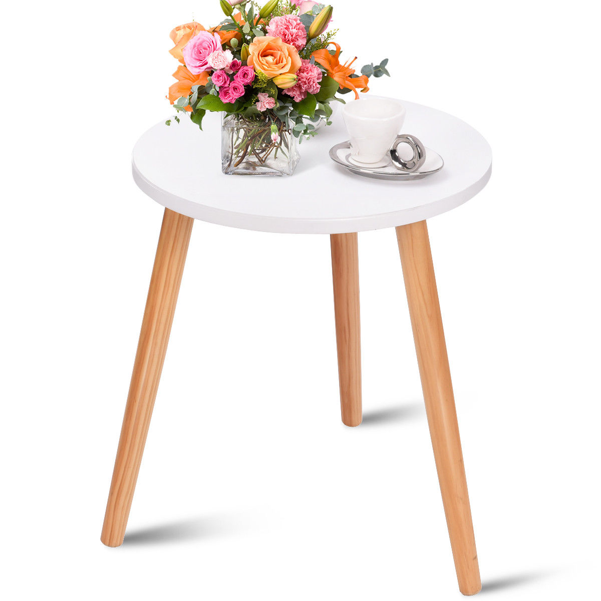 Costway Modern Round Coffee Tea Side Sofa Table Living Room Furniture Home Decor