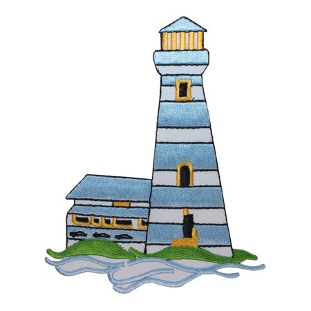 ID 1842 Nautical Lighthouse Patch Ocean Beach Cabin Embroidered Iron On - Iron Cabin