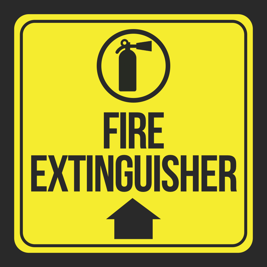 Aluminum Fire Extinguisher Print Up Arrow Picture Black Yellow Safety Notice Home Business Office Signs Met, 12x12