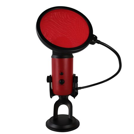 6 Inch Pop Filter Shield Studio Microphone Wind Screen with Stand Clip for Blue Yeti Microphones and USB Condenser Mics (Red)