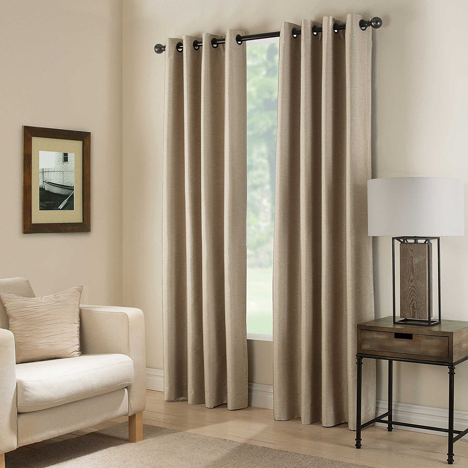 "(#32) Hotel Quality SILVER Grommet Top, FAUX SILK 1 PANEL TAUPE TAN SOLID THERMAL FOAM LINED BLACKOUT HEAVY THICK WINDOW CURTAIN DRAPES  GROMMETS 84"" LENGTH"