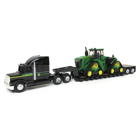 1/64 John Deere 9570RX Scraper Special with Semi and Lowboy Trailer, 1/64 scale toy replica. By None