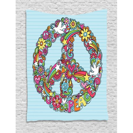 Hippie Tapestry, Hand-Drawn Psychedelic Groovy Floral Peace Sign and Dove  Doodles on Line Sketchbook, Wall Hanging for Bedroom Living Room Dorm  Decor, ...