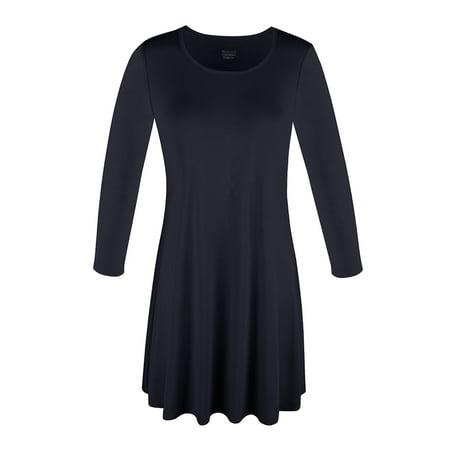 SAYFUT Fashion Women's 3/4 Sleeve Loose Fit T-Shirt O-Neck Solid Black Basic Tunic (Black Tonic)