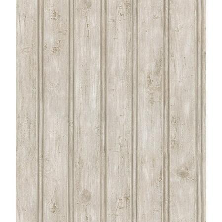 Brewster Grayling Textured Wood Paneling Wallpaper