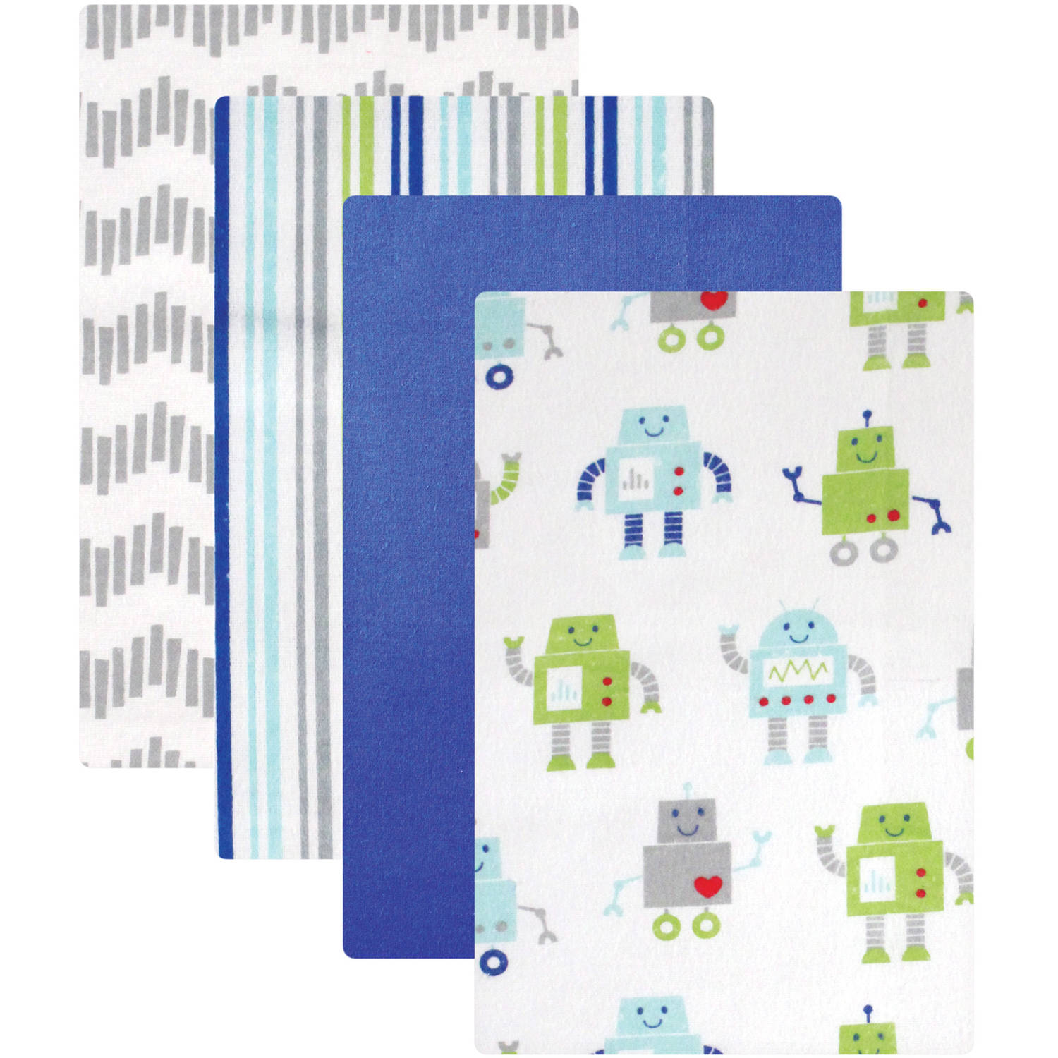 Luvable Friends Receiving Blankets Flannel, 4pk, Robot