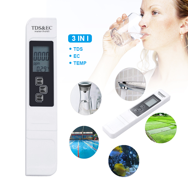 3 IN 1 Electric PH TDS EC PPM Conductivity Meter Tester Hydroponics Water Test Tool by