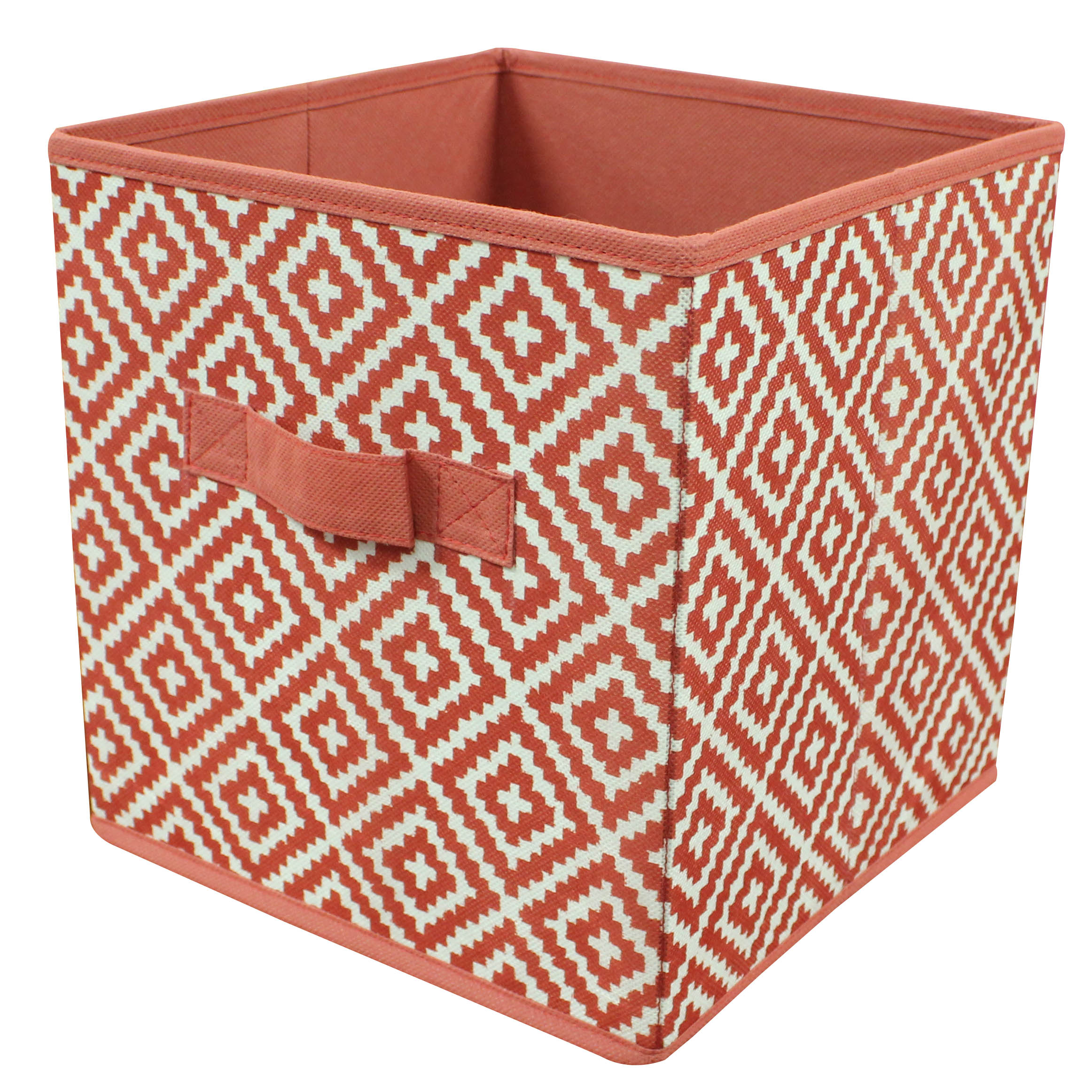 "Mainstays collapsible 10.5"" x 10.5"" cube storage bins, Single, Diamond Clay Brick"