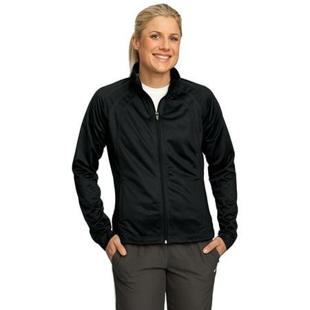 Angel Track Jacket (Sport-Tek LST90 Ladies Tricot Track Jacket - Black/Black - XS)