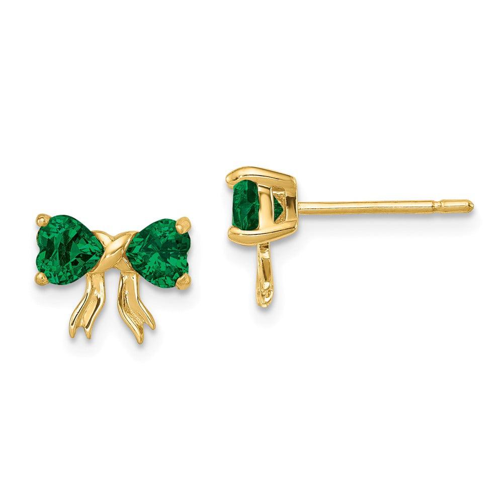Diamond2deal 14k Gold Polished Created Emerald Bow Stud Earrings