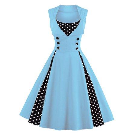 Zaful Fashion vintage polka dot printing dress women retro style square collar sleeveless knee length dress defined waist elegant big swing dress