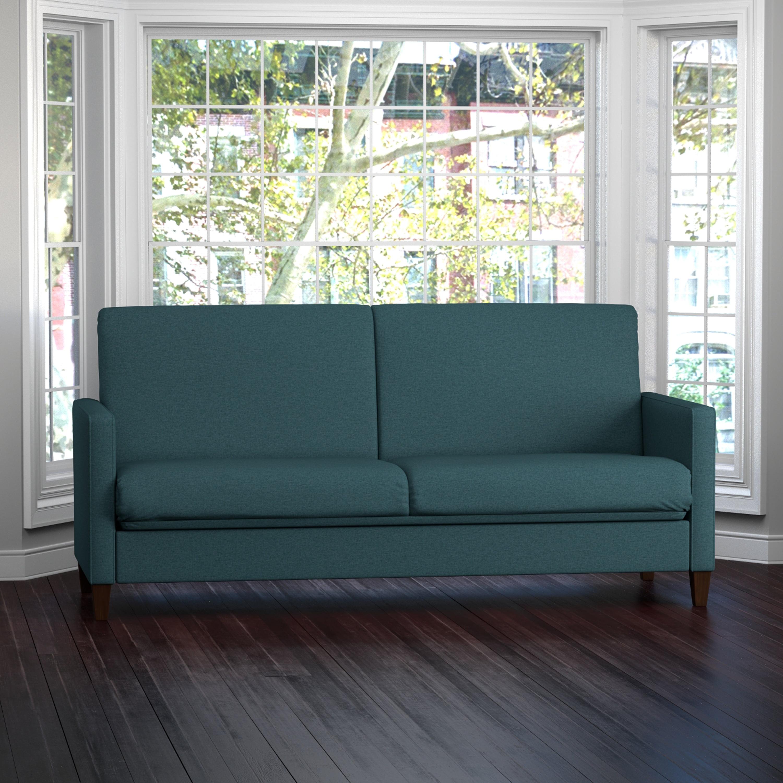 Handy living samuel caribbean blue linen convert a couch futon sleeper sofa walmart com