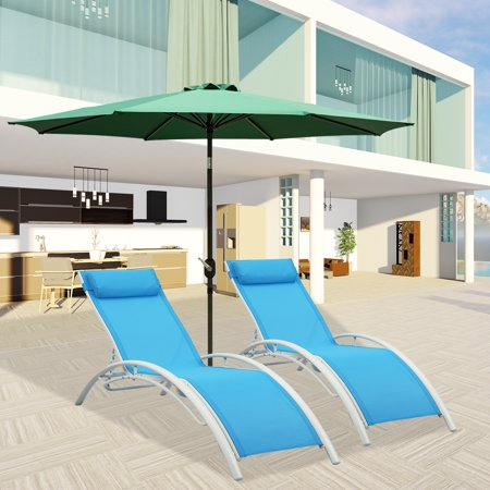 Ainfox Outdoor Patio 2-Pack Lounge Chairs Adjustable Aluminum Chaise Lounges for All Weather (Blue) ()