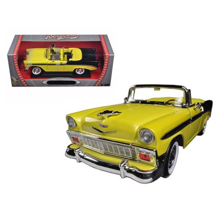92128y-bk 1 by 18 1956 Chevrolet Bel Air Convertible Diecast Model Car, Yellow &