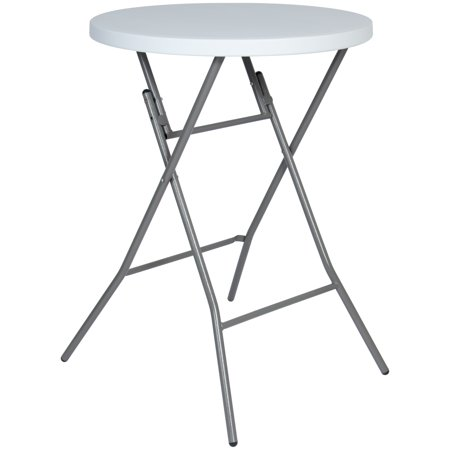 Aluminum Folding Table Legs (Best Choice Products 32in Indoor/Outdoor Commercial Grade Round Bar Height Folding Table w/ Locking Leg Mechanism, Non-Slip Rubber Foot Caps for Parties, Weddings, Award Ceremonies - White)