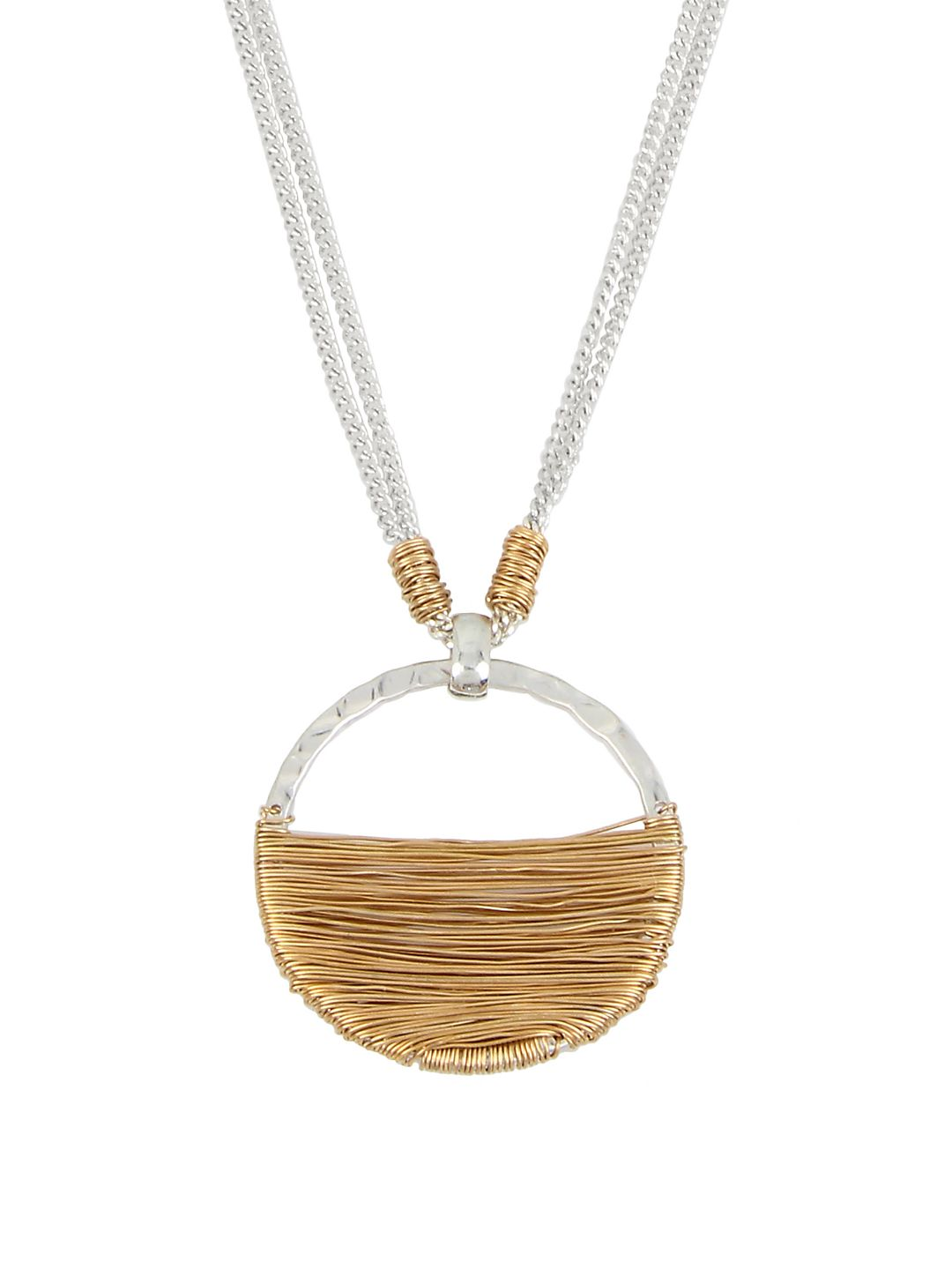 Bold Moves Wire-Wrapped Circle Pendant Necklace