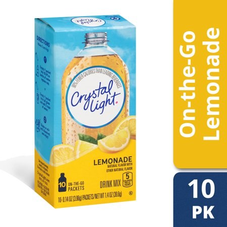 (6 Pack) Crystal Light On-The-Go Sugar-Free Lemonade Drink Mix, 10 Packets (Kid Drink Mix)