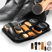 7 In 1 Shoe Shine Care Kit Neutral Polish Brush Sponge Polishing Cloth Set For