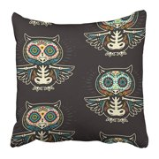 ARHOME Colorful Cartoon Calaveras Sugar Owl Skulls Mexican Black for Holiday Dia De Muertos Pillow Case Cushion Cover 20x20 inch