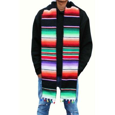 Mexican Black Sarape Baja Scarf, Graduation Stole, Winter Warm Sash, Men Women - Stoles Graduation