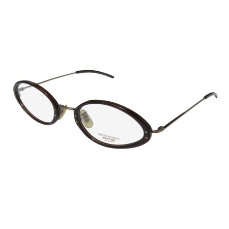 New Oliver Peoples Op-623 Mens/Womens Designer Full-Rim Brown / Antique Gold Unique Design Stunning Frame Demo Lenses 47-21-135 Eyeglasses/Eyewear 00 Gold Demo Lens
