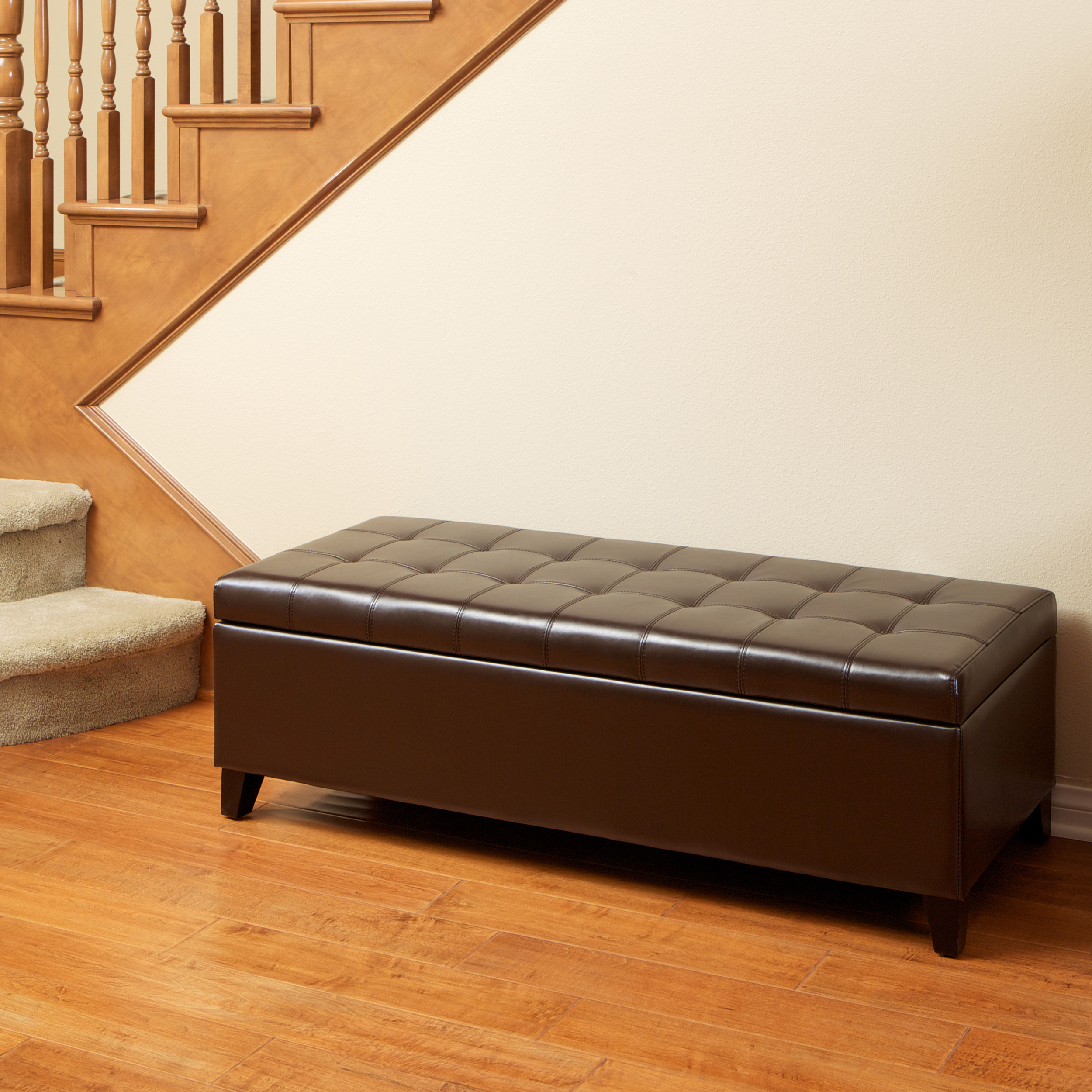 Noble House Logan Brown Tufted Bonded Leather Ottoman Storage Bench