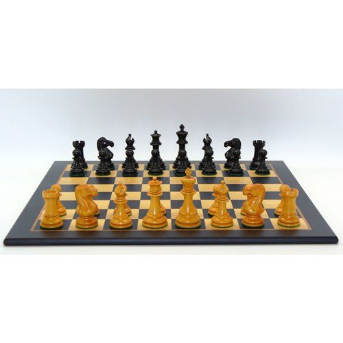 Worldwise Chess Set Antiqued Boxwood and Black Madrona Burl by WW Chess